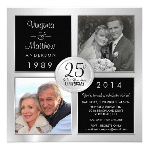25th Silver Anniversary with Past & Present Photos Custom Invitation