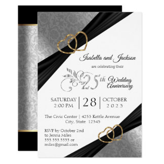 25th Silver Heart Anniversary Design Invitation