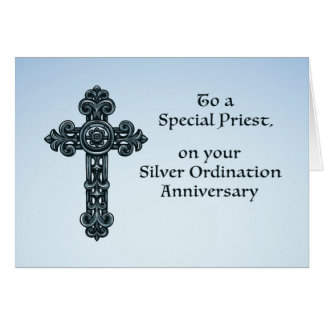 25th Silver Ordination Anniversary Priest, Cross Card