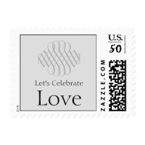 25th Silver Scroll Wedding Anniversary Stamp