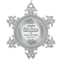 25th Silver Wedding Anniversary 4 Snowflake Pewter Christmas Ornament