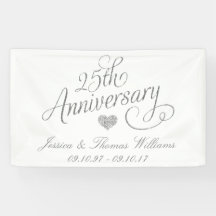 """25th Silver Anniversary Giant Banner ~ 5 Ft Long x 20/"""" Wide New /& Sealed"""