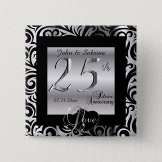 25th Silver Wedding Anniversary Button