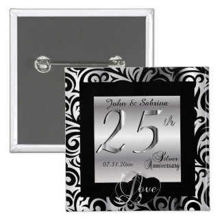 25th Silver Wedding Anniversary Button