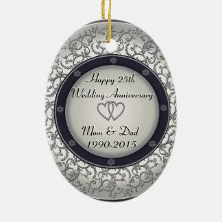 25th Silver Wedding Anniversary Ceramic Ornament