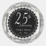 25th Silver Wedding Anniversary Classic Round Sticker