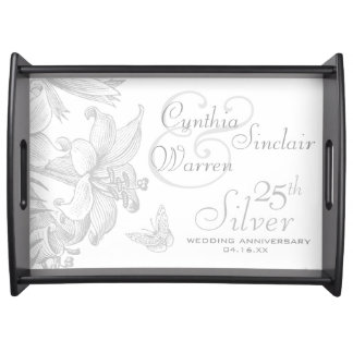 25th Silver Wedding Anniversary Custom Keepsake Serving Tray