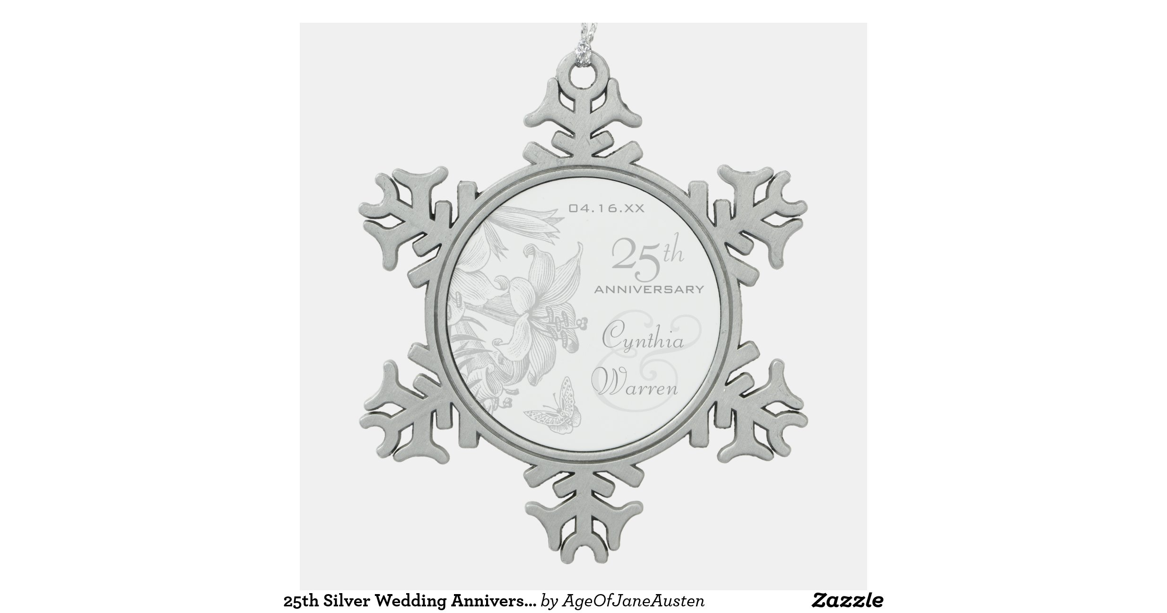 25th Silver Wedding Anniversary Custom Keepsake Snowflake Pewter Christmas Or