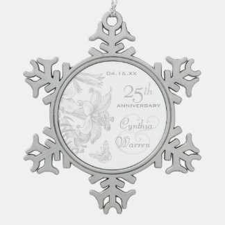 25th Silver Wedding Anniversary Custom Keepsake Snowflake Pewter Christmas Ornament