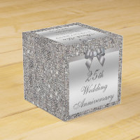 25th Silver Wedding Anniversary Custom Thank You Favor Box