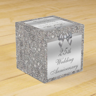 25th Silver Wedding Anniversary Custom Thank You Favor Box