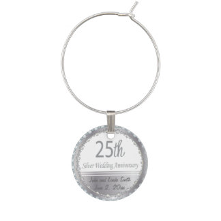 25th Silver Wedding Anniversary | DIY Name & Date Wine Glass Charm