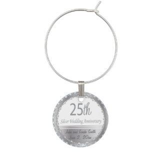 25th Silver Wedding Anniversary | DIY Name & Date Wine Glass Charm