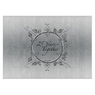 25th Silver Wedding Anniversary Elegant 25 Years Cutting Board