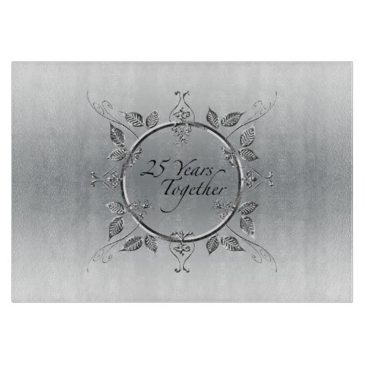 25th Wedding Anniversary Gift Experiences : 25th Silver Wedding Anniversary Elegant 25 Years Cutting Board ...