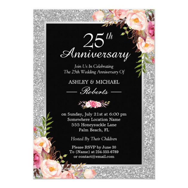 Personalized 5th anniversary invitations custominvitations4u 25th silver wedding anniversary elegant floral card stopboris Image collections