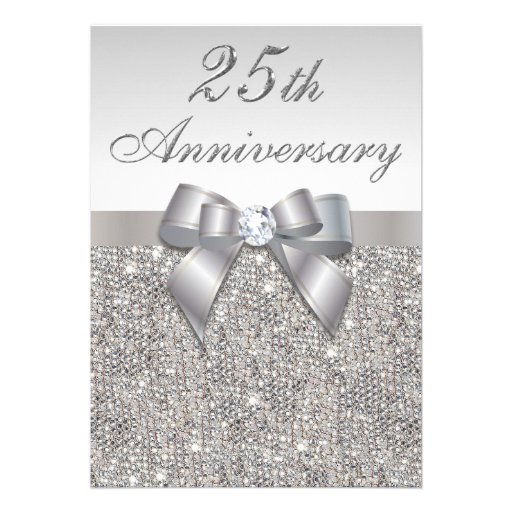 25th Silver Wedding Anniversary Faux Sequins & Bow Personalized Invites