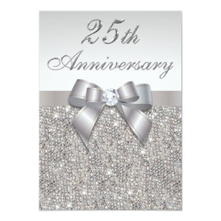 "25th Silver Wedding Anniversary Faux Sequins & Bow 5"" X 7"" Invitation Card"