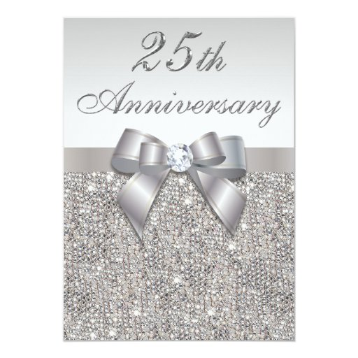 25th Silver Wedding Anniversary Faux Sequins & Bow ...
