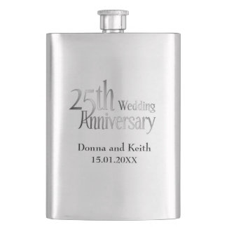 25th Silver Wedding Anniversary Flask