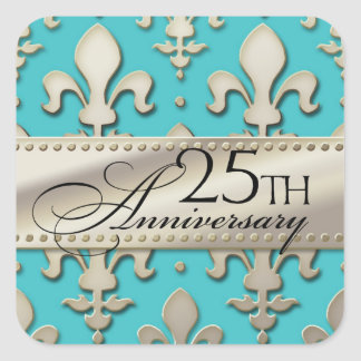 25th, Silver Wedding Anniversary, Fleur de Lis Square Sticker