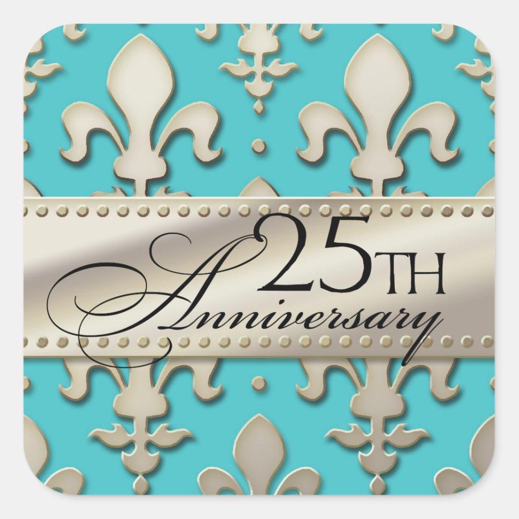 25th, Silver Wedding Anniversary, Fleur de Lis Sticker