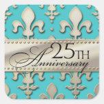 25th, Silver Wedding Anniversary, Fleur de Lis Square Sticker