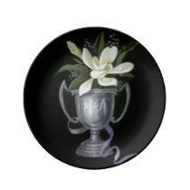 25th Silver Wedding Anniversary Gardenia Porcelain Plate