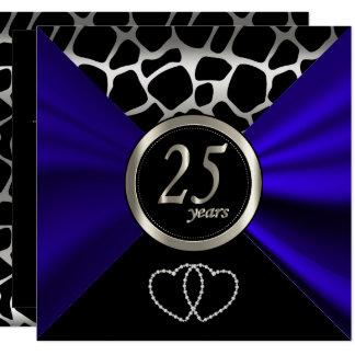 25th Silver Wedding Anniversary | Giraffe Pattern Card