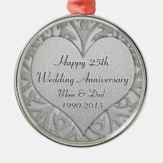 25th Silver Wedding Anniversary Heart Metal Ornament at Zazzle