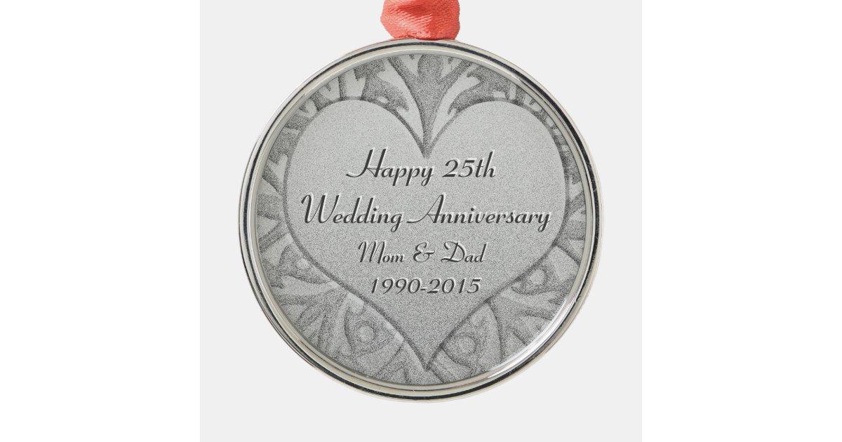 25th Silver Wedding Anniversary Heart Metal Ornament Zazzle