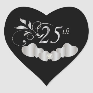 25th Silver Wedding Anniversary Heart Sticker