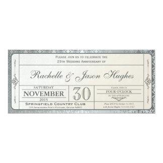 25th Silver Wedding Anniversary Invitation Ticket