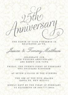 25th wedding anniversary invitations zazzle 25th silver wedding anniversary invitations filmwisefo