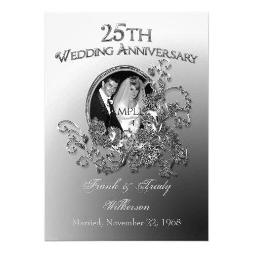 25th Silver Wedding Anniversary Invitations 5 X 7 Invitation Card