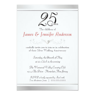 "25th Silver Wedding Anniversary Invitations 5"" X 7"" Invitation Card"