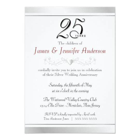 Th Silver Wedding Anniversary Invitations  Zazzle
