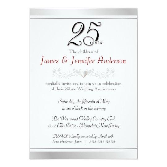 silver wedding anniversary invitations & announcements | zazzle,