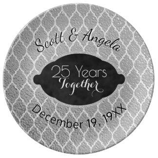25th Silver Wedding Anniversary Keepsake 25 Years Porcelain Plate