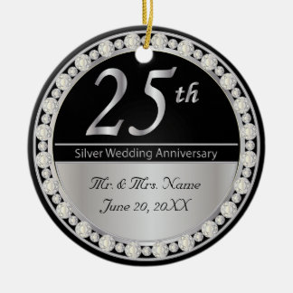 25th Silver Wedding Anniversary Keepsake Ceramic Ornament