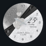 """25th Silver Wedding Anniversary  Keepsake Large Clock<br><div class=""""desc"""">Personalize Clock. 25th Silver Wedding Anniversary Design Keepsake. 100% Customizable. Ready to Fill in the box(es) or Click on the CUSTOMIZE button to add, move, delete, resize or change any of the font or graphics. Made with high resolution vector and/or digital graphics for a professional print. NOTE: (THIS IS A...</div>"""