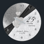 "25th Silver Wedding Anniversary  Keepsake Large Clock<br><div class=""desc"">Personalize Clock. 25th Silver Wedding Anniversary Design Keepsake. 100% Customizable. Ready to Fill in the box(es) or Click on the CUSTOMIZE button to add, move, delete, resize or change any of the font or graphics. Made with high resolution vector and/or digital graphics for a professional print. NOTE: (THIS IS A...</div>"