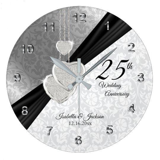 25th Silver Wedding Anniversary Keepsake Large Clock