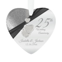 25th Silver Wedding Anniversary Keepsake Ornament
