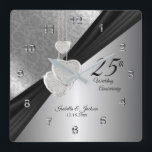 "25th Silver Wedding Anniversary Keepsake Square Wall Clock<br><div class=""desc"">Personalize Clock. 25th Silver Wedding Anniversary Keepsake. ⭐This Product is 100% Customizable. Graphics and / or text can be added, deleted, moved, resized, changed around, rotated, etc... 99% of my designs in my store are done in layers. This makes it easy for you to resize and move the graphics and...</div>"