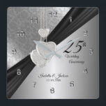 """25th Silver Wedding Anniversary Keepsake Square Wall Clock<br><div class=""""desc"""">Personalize Clock. 25th Silver Wedding Anniversary Keepsake . 100% Customizable. Ready to Fill in the box(es) or Click on the CUSTOMIZE button to add, move, delete, resize or change any of the font or graphics. Made with high resolution vector and/or digital graphics for a professional print. NOTE: (THIS IS A...</div>"""