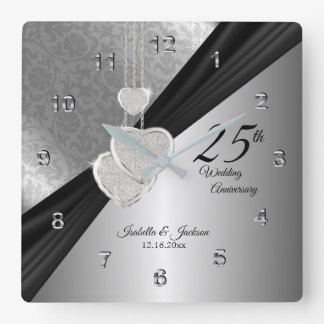 25th Silver Wedding Anniversary Keepsake Square Wall Clock