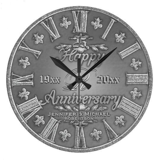 25th Silver Wedding Anniversary Large Clock Zazzle Com
