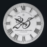 """25th Silver Wedding Anniversary Large Clock<br><div class=""""desc"""">Commemorate your 25th silver anniversary with this custom personalized clock. Makes a beautiful gift. Art by Amelia Carrie</div>"""