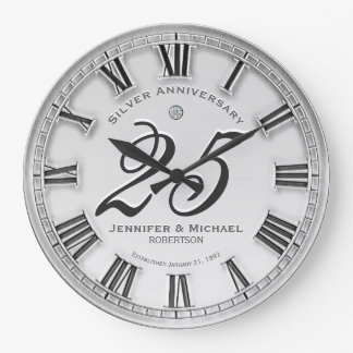 25th Silver Wedding Anniversary Large Clock
